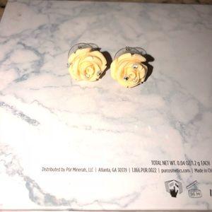 Rose and diamond earrings